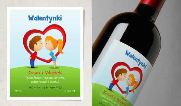 Kreskówka, rysunkowa etykieta na butelkę na walentynki na prezent
